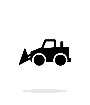 construction dozer: Bulldozer simple icono en el fondo blanco.