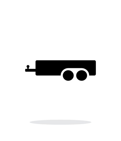 trucker: Car trailer simple icon on white background.