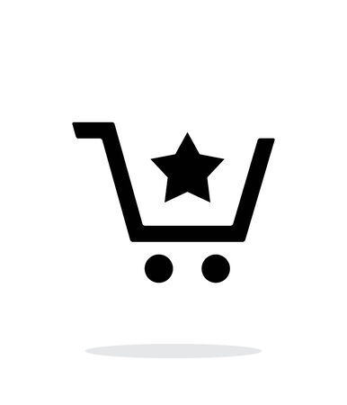 favorites: Shopping cart with favorites item simple icon on white background.