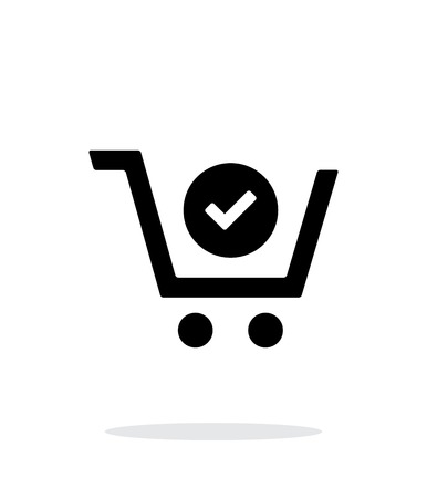 checkout line: Shopping cart check simple icon on white background. Illustration
