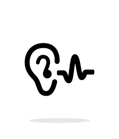 listen to music: Ear hearing sound icon on white background.