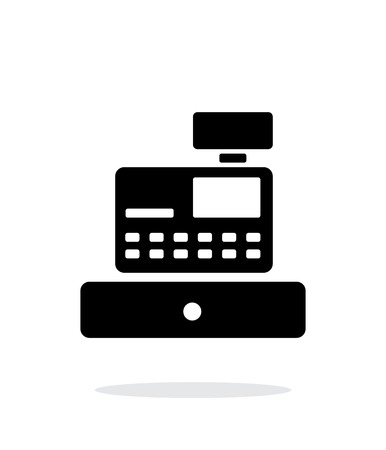 Cash register machine icon on white background.