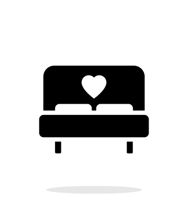 marriage bed: Romantic bed icon on white background.