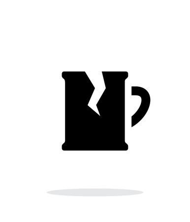 breakable: Broken beer mug simple icon on white background.