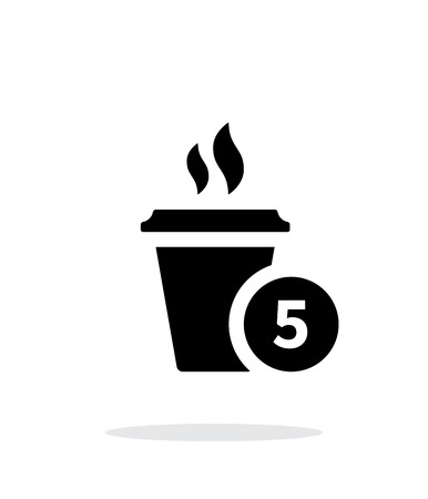 kitchen studio: Coffe cup with number simple icon on white background.