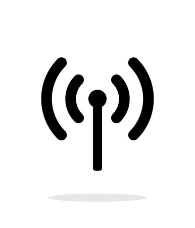 cell phone transmitter tower: Radio antenna sending signal icon on white background. Illustration