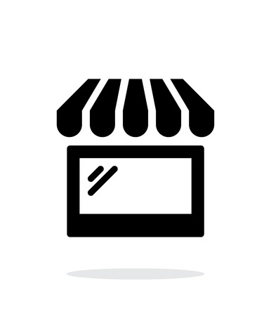 frontdoor: Storefront shop glass case icon on white background.