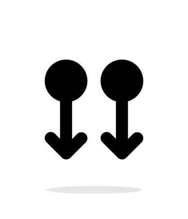 multitouch: Two Finger drag down gesture abstract icon. Vector illustration.