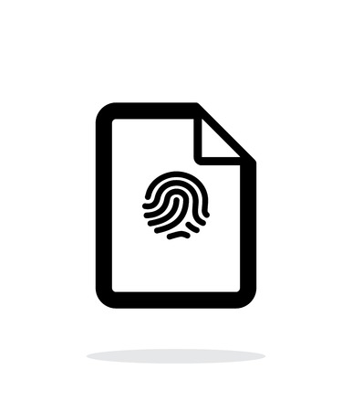 Fingerprint on file icon on white background. Vector illustration. Illustration