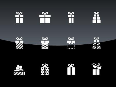 Kerst geschenkdoos pictogrammen op zwarte achtergrond. Vector illustratie. Stock Illustratie