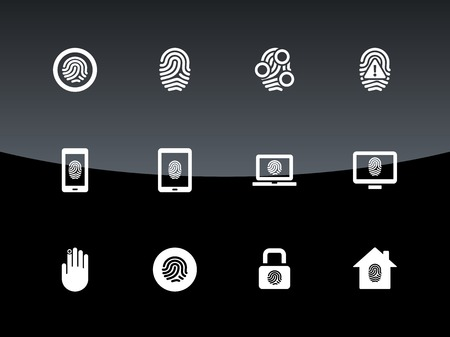 finger prints: Fingerprint icons on black background. Vector illustration.