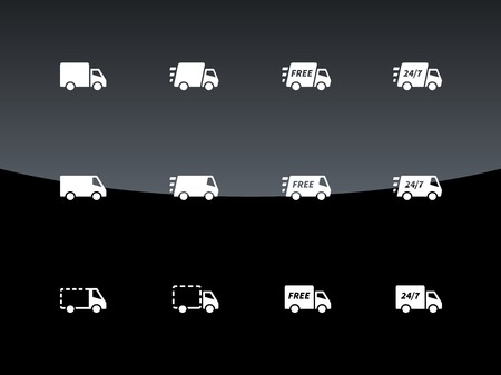 moving van: Commercial van icons on black background. Vector illustration.