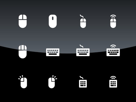 clavier: PC mouse and keypad icons on black background. Vector illustration.