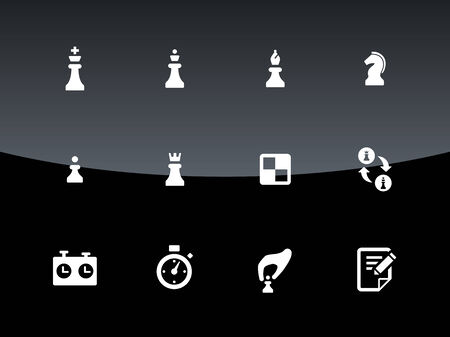pawn to king: Set of Chess icons on black background. Vector illustration. Illustration