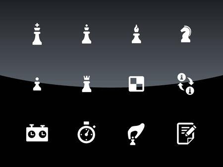 pawn king: Set of Chess icons on black background. Vector illustration. Illustration
