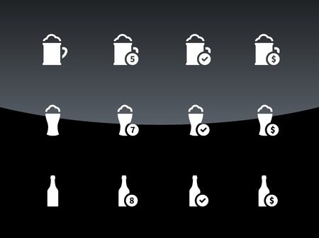 Bottle and glass of beer icons on black background. Vector illustration. Vector
