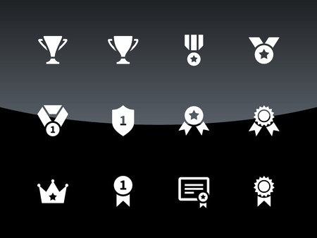 Trophy icons on black background. Vector illustration. Illustration
