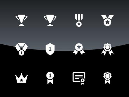 background trophy: Trophy icons on black background. Vector illustration. Illustration
