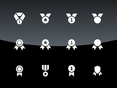 medal: Awards and medal icons on black background. Vector illustration.