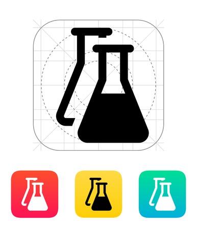 laboratory equipment: Flasks icon. Vector illustration. Illustration