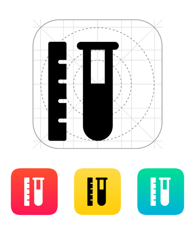 Test tube with ruler icon. Vector illustration. Vector