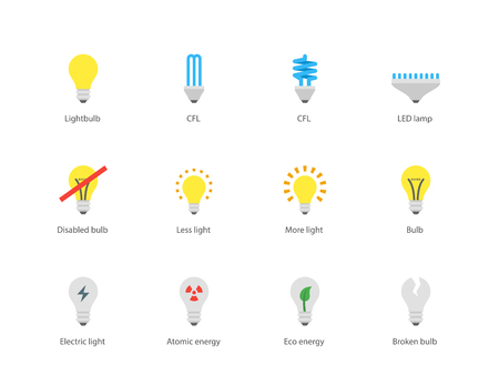compact fluorescent lightbulb: Light bulb and CFL lamp icons on white background.