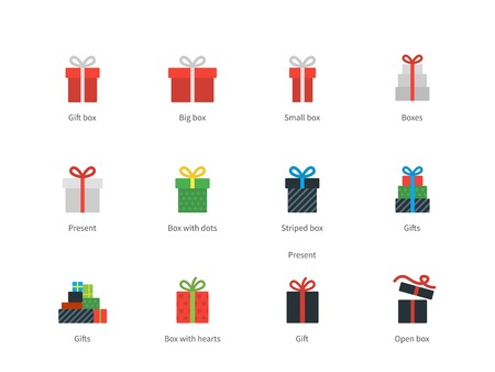 gift packs: Gift box icons on white background.