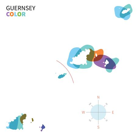guernsey: Abstract vector color map of Guernsey with transparent paint effect. Illustration