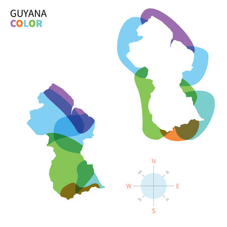 georgetown: Abstract vector color map of Guyana with transparent paint effect.