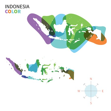 Abstract vector color map of Indonesia with transparent paint effect. 向量圖像