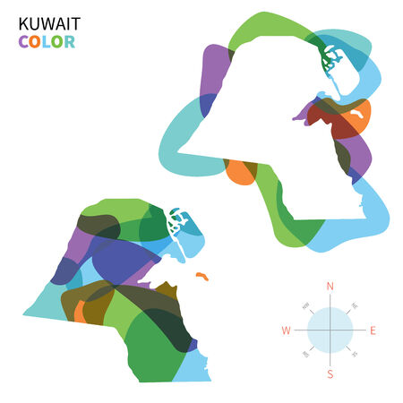 western asia: Abstract vector color map of Kuwait with transparent paint effect.
