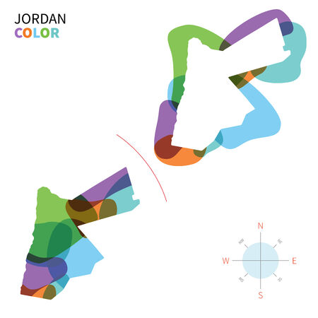 western asia: Abstract vector color map of Jordan with transparent paint effect. Illustration
