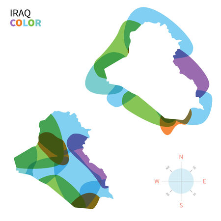 western asia: Abstract vector color map of Iraq with transparent paint effect.