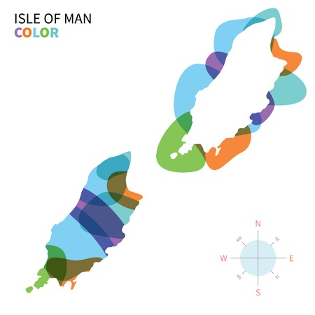 isle: Abstract vector color map Isle of Man with paint effect.