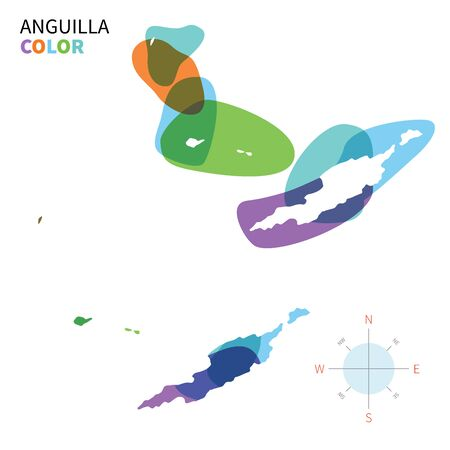 anguilla: Abstract vector color map of Anguilla with transparent paint effect.