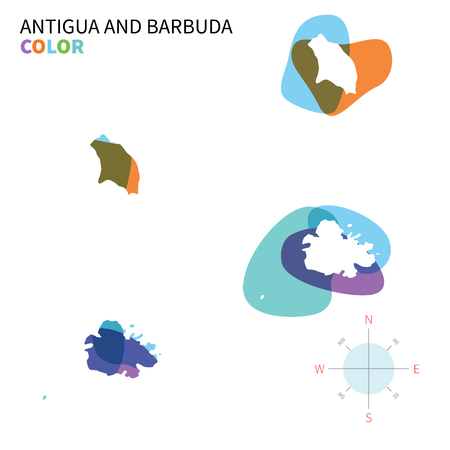 barbuda: Abstract vector color map of Antigua and Barbuda with transparent paint effect.