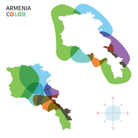 yerevan: Abstract vector color map of Armenia with transparent paint effect.