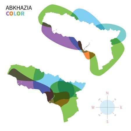 sukhumi: Abstract vector color map of Abkhazia with transparent paint effect.