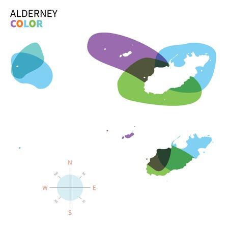 透明絵の具の効果のオルダニーの抽象的なベクトル色のマップ。  イラスト・ベクター素材