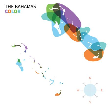 bahamas map: Abstract vector color map of Bahamas with transparent paint effect. Illustration