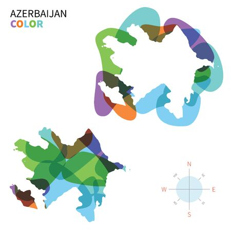 western asia: Abstract vector color map of Azerbaijan with transparent paint effect. Illustration