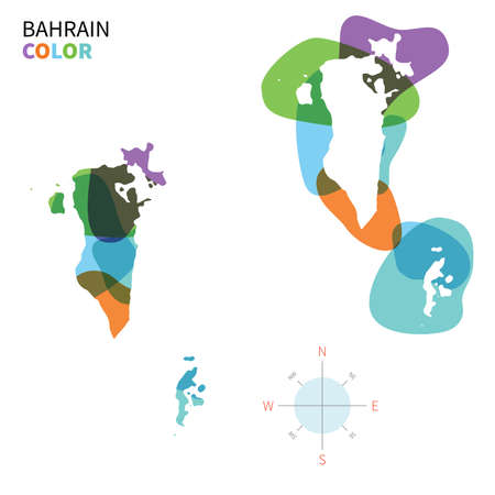 Abstract vector color map of Bahrain with transparent paint effect. Vector