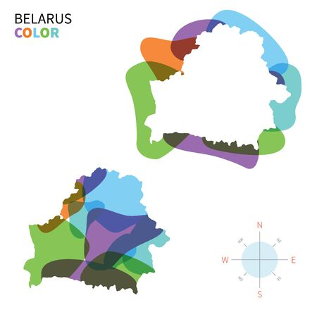 kelet európa: Abstract vector color map of Belarus with transparent paint effect.