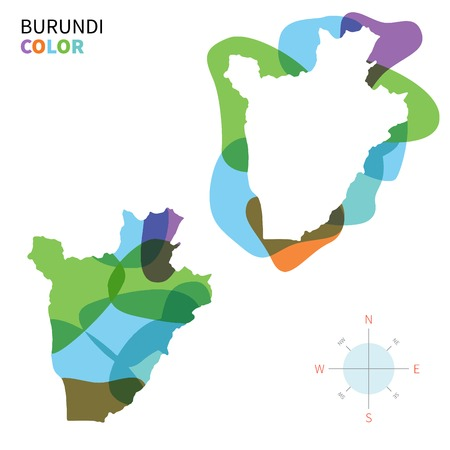 bujumbura: Abstract vector color map of Burundi with transparent paint effect. Illustration