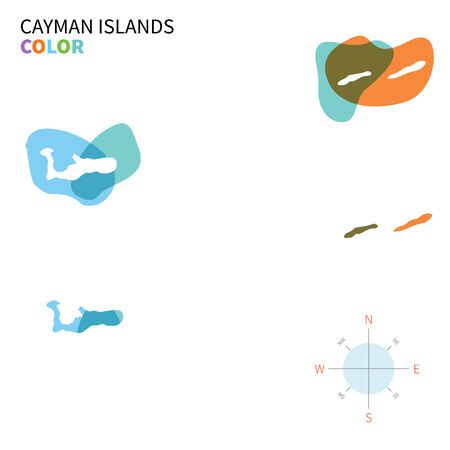 cayman islands: Abstract vector color map of Cayman Islands with transparent paint effect. Illustration