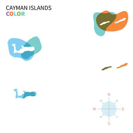 cayman: Abstrait vector carte de �les Ca�mans couleur avec effet de peinture transparente. Illustration