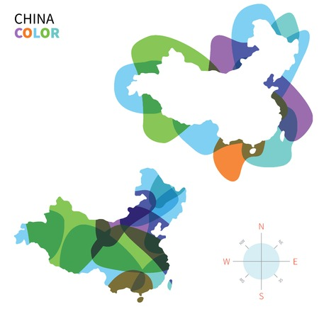 far east: Abstract vector color map of China with transparent paint effect. Illustration