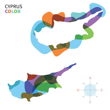 southeastern asia: Abstract vector color map of Cyprus with transparent paint effect.