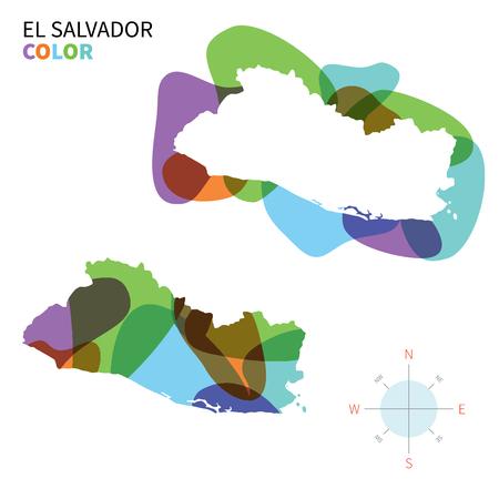 mapa de el salvador: Resumen vectores de color mapa de El Salvador, con efectos de pintura transparente.