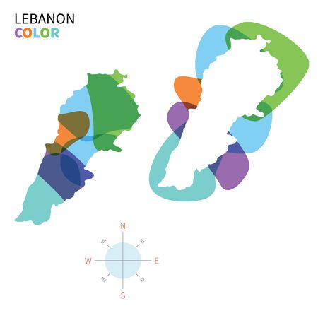 western asia: Abstract vector color map of Lebanon with transparent paint effect.